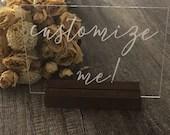 Acrylic Wedding Sign | Custom Acrylic Sign | Custom Sign | Personalized Acrylic Sign | Wedding Reception Signs | Clear Wedding Signs
