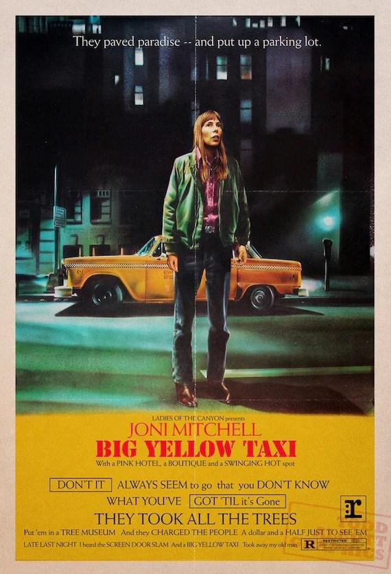 joni mitchell big yellow taxi taxi driver film poster mashup druck