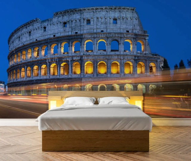 Colosseum At Night In Rome Photo Wallpaper Removable Wall Wallpaper Peel And Stick Non Woven Wall Mural Wall Decal Wall Mural W59
