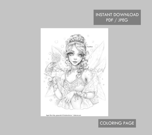 Sugar Plum Fairy Coloring Page Grayscale illustration Instant Download  Printable File (JPEG and PDF)