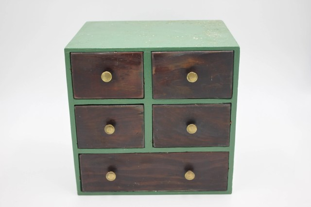 Vintage Green And Wood Sewing Chest Of Drawers Or Dolls Chest With Brass Pulls And Five Drawers