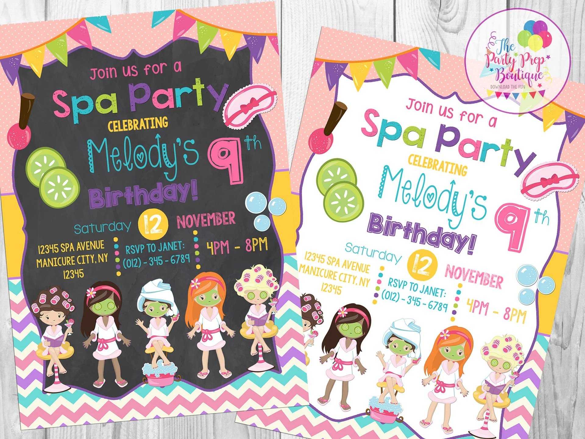 spa party invitation spa birthday party invitation kids spa party spa party invite pamper party spa birthday invite girls spa party