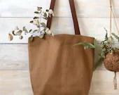 Canvas and leather Tote bag - minimalist bag - TOBACCO - linen shopper bag - zero waste reusable bag