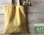SEWING KIT - Lino Tinto Shopper bag with natural colors - DIY sewing kit - linen shopping bag natural dyed linen fabric
