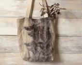 Linen shopper bag - ecoprint - Simple canvas bag, shopping bag, hand embroidered reusable tote bag