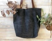 Shopper bag with leather handles, minimalist - GRAY - Simple canvas bag, shopping bag, zero waste reusable tote bag