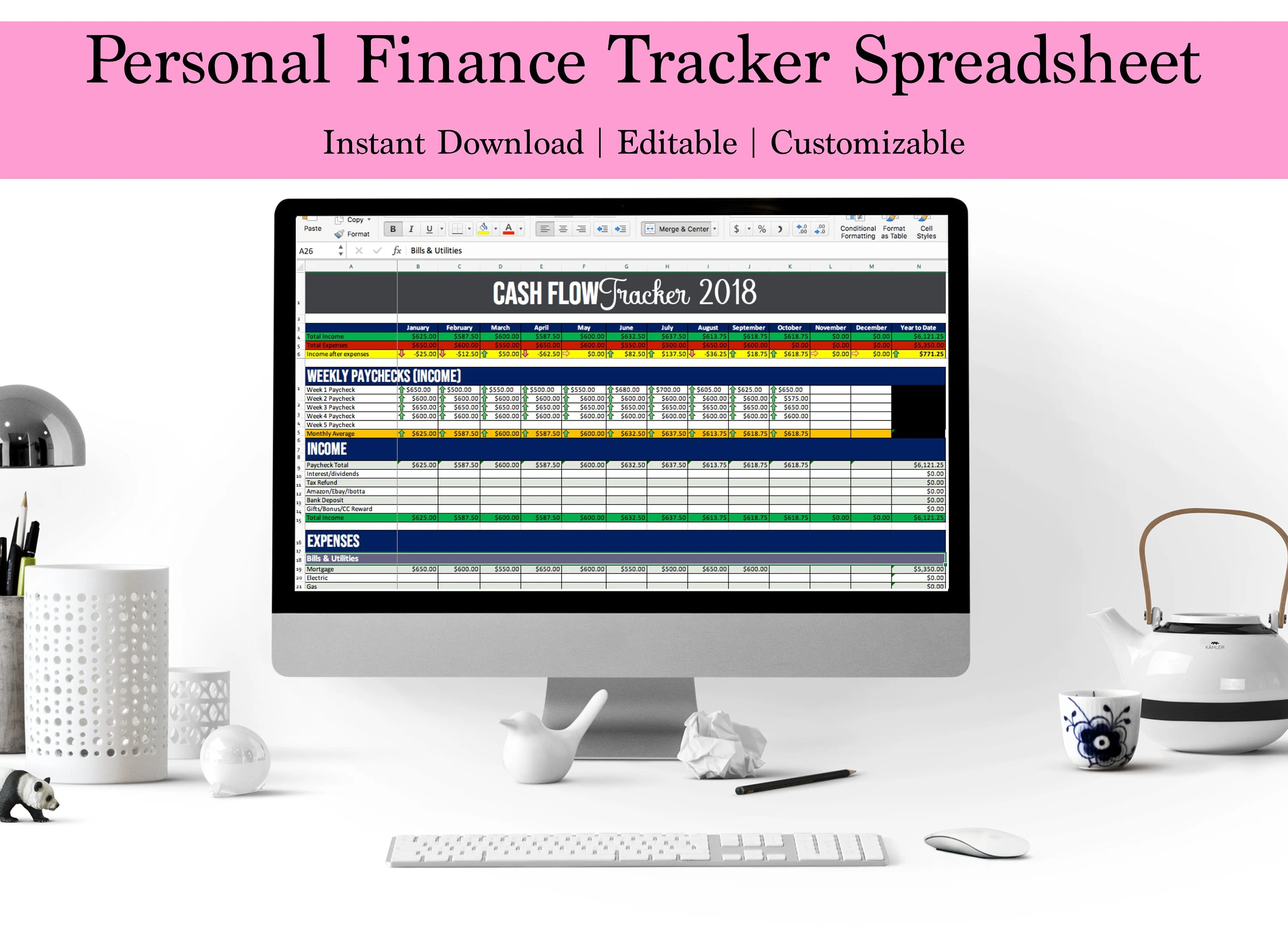 Cash Flow Spreadsheet Income Expense Tracker Bill Track Excel