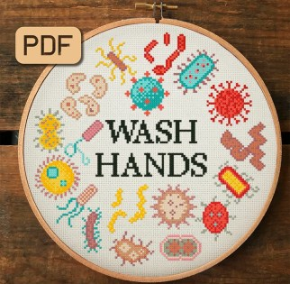 Wash Your Hands Cross Stitch Pattern  Microbe Cross Stitch image 0