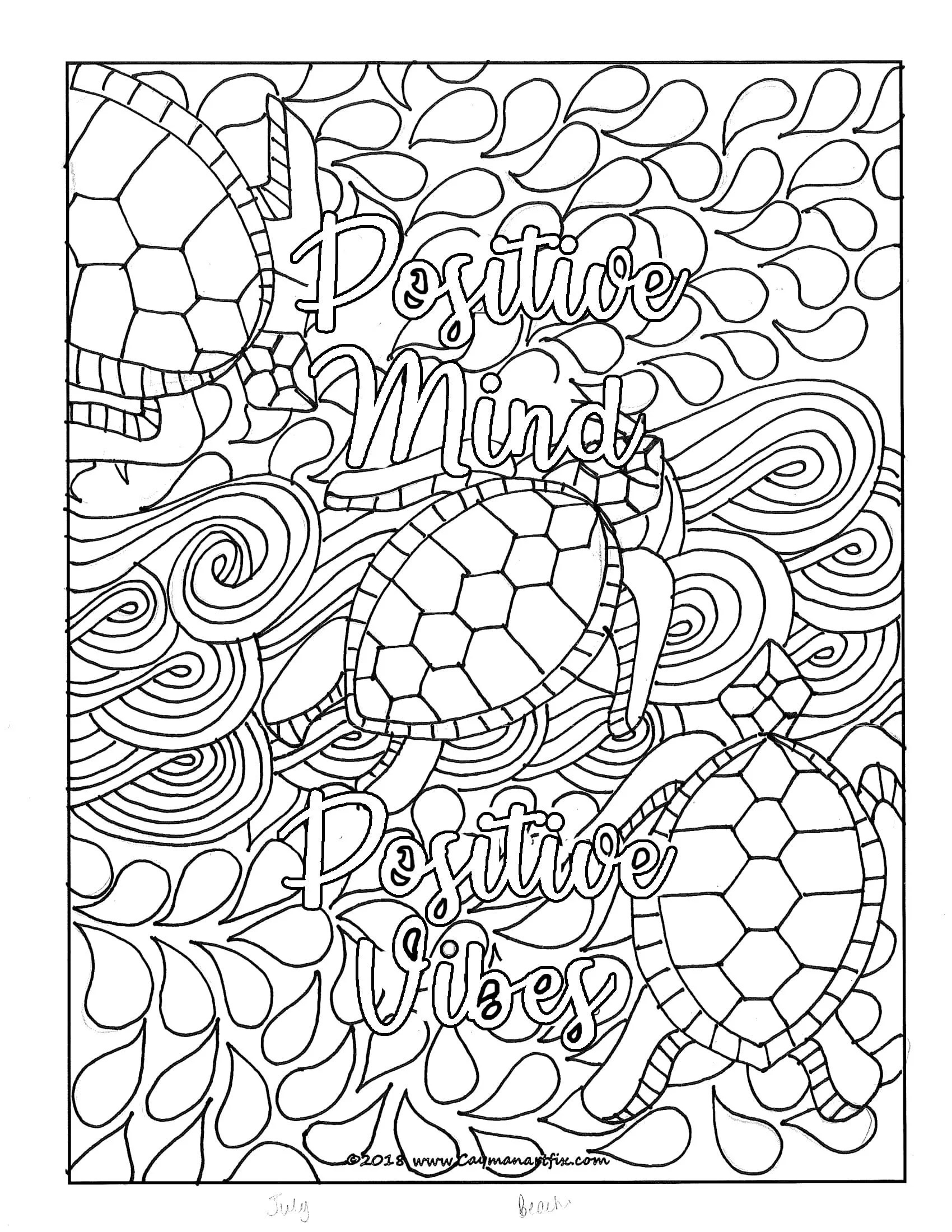 Positive Mind Positive Vibes Quote Coloring Page