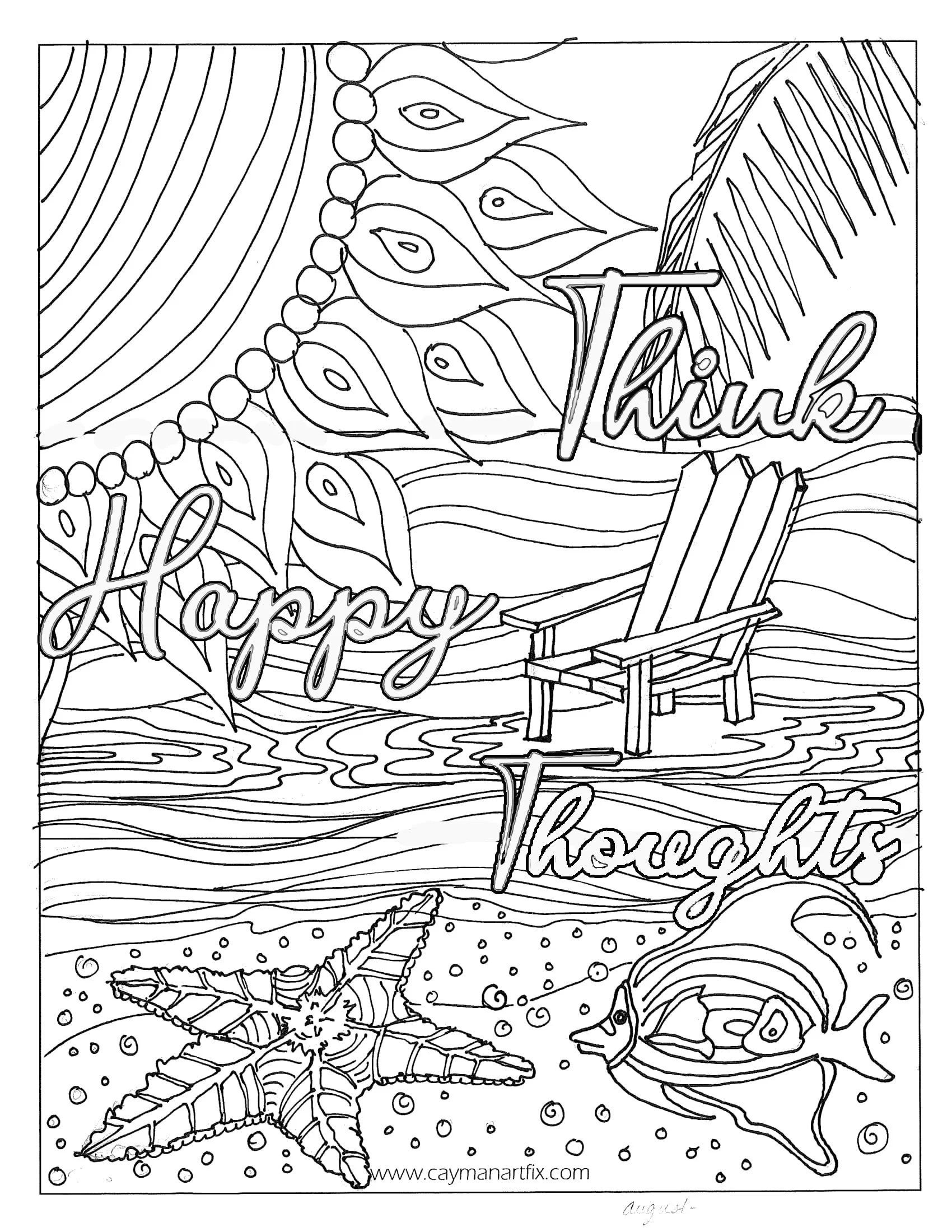 Think Happy Thoughts Quote Coloring Page Motivational