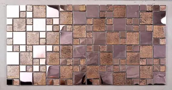 rose gold metal glass mosaic tile backsplash ssmt405 stainless etsy