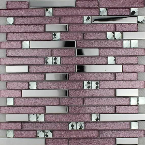 purple pink glass mosaic tile backsplash ssmt305 silver etsy