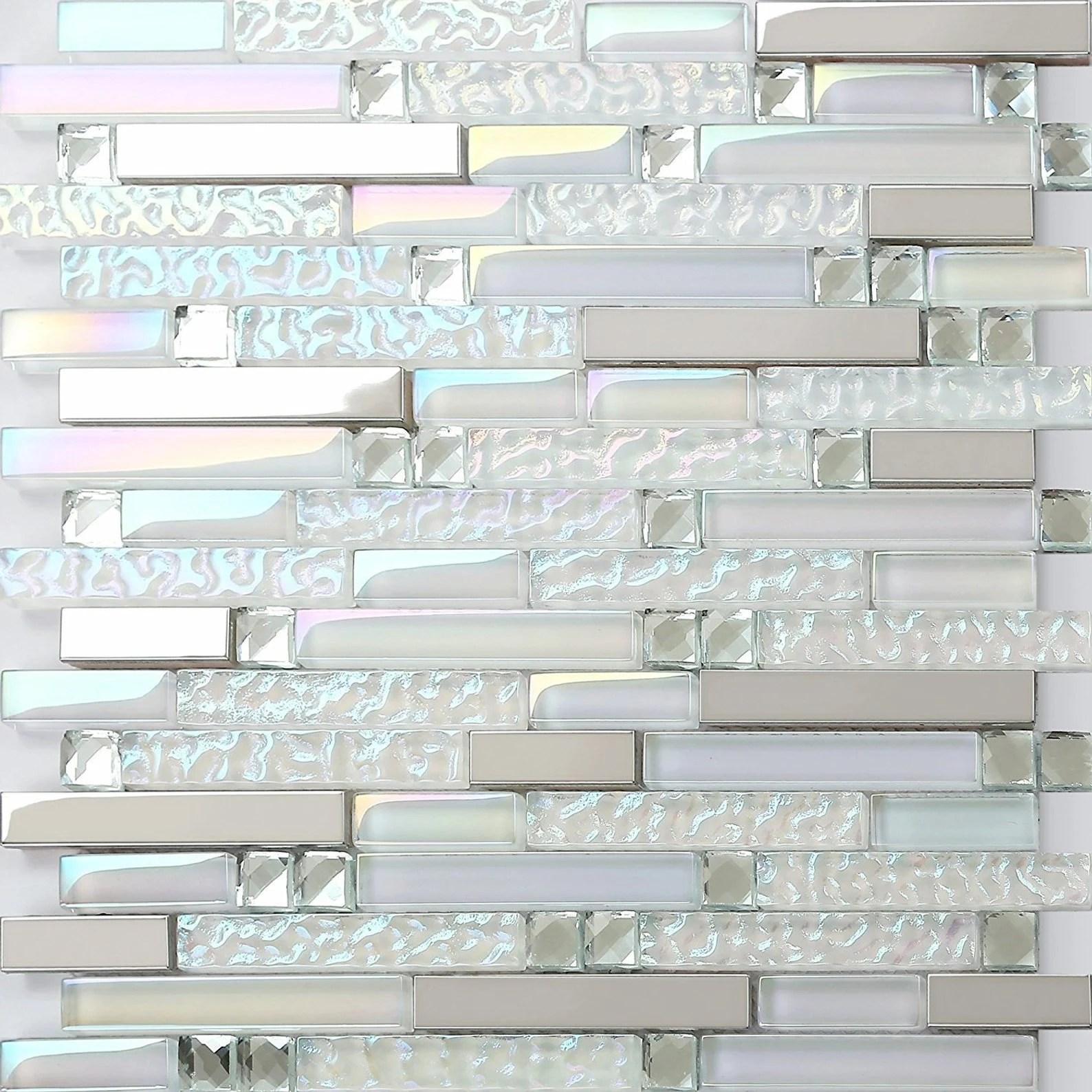 crystal white glass mosaic metal tile backsplash bathroom etsy