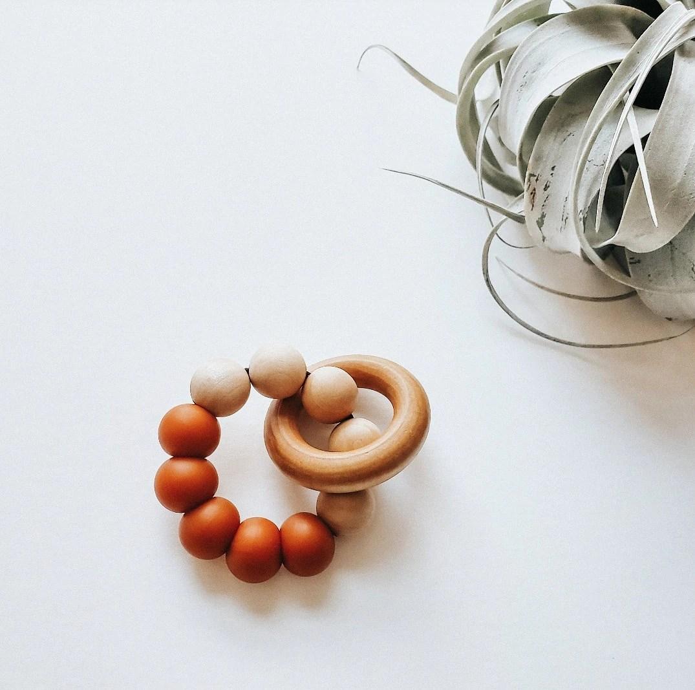 VEDA Teething Rattle  wood/silicone rattle  minimalist image 3