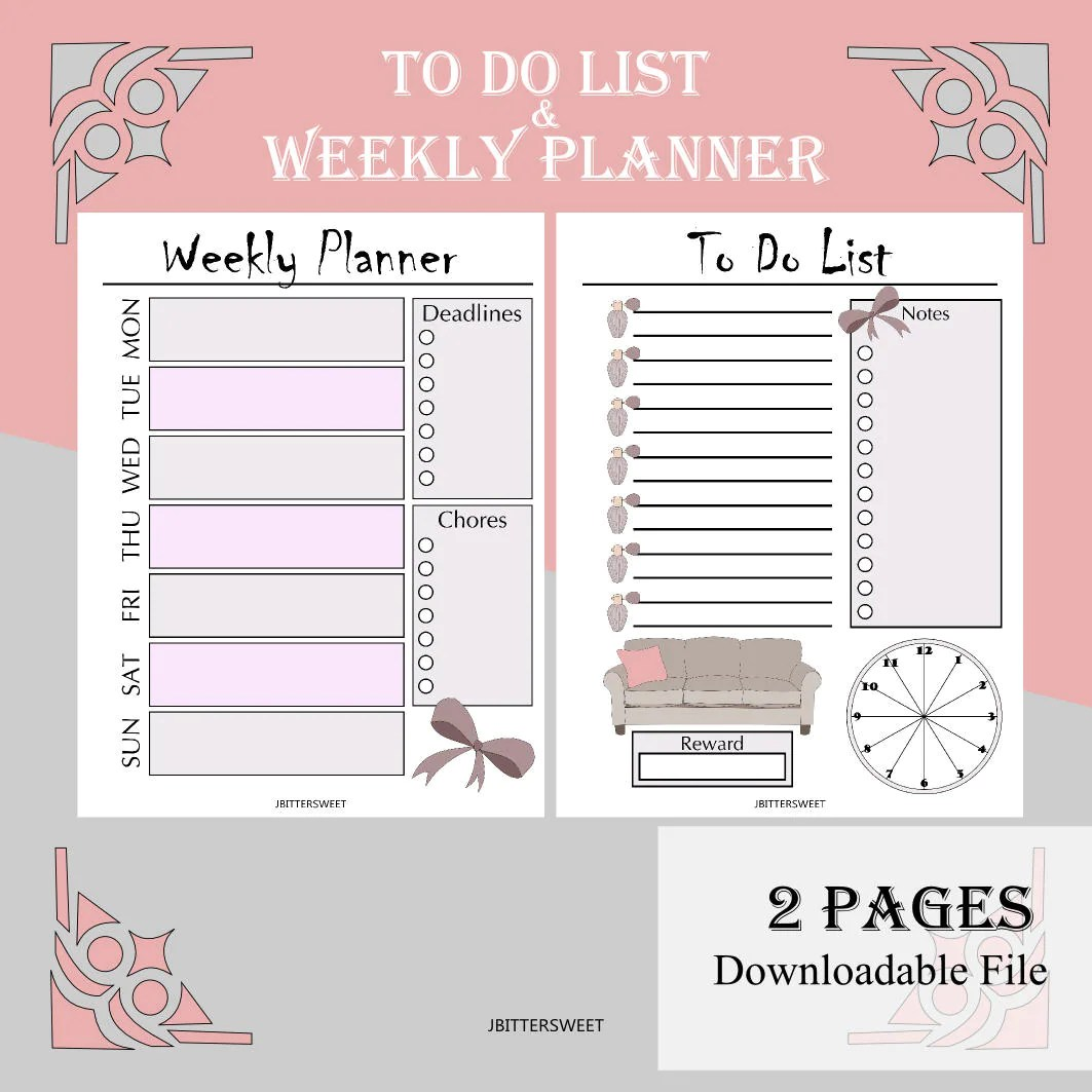 Printable To Do List And Weekly Planner In Girly Pink And