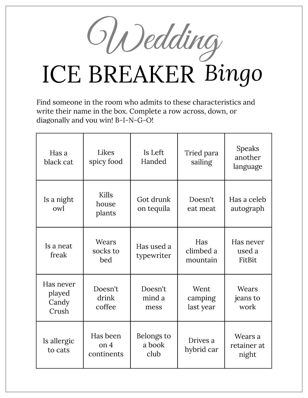 Gray Bridal Shower Wedding Ice Breaker Human Bingo Cards