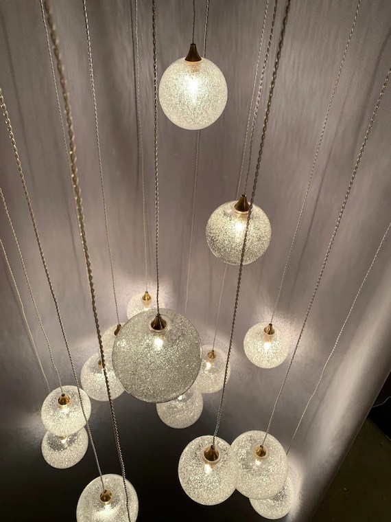 amazing staircase snow light modern blown glass chandelier etsy