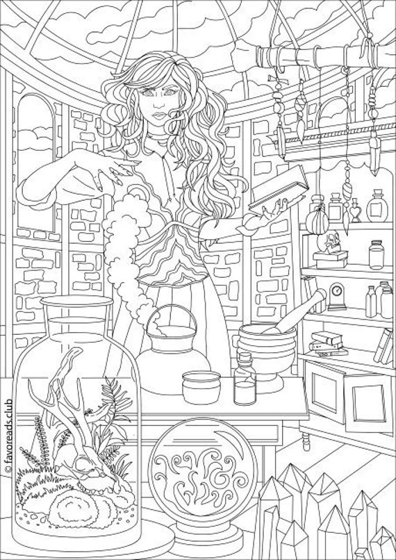 witch printable adult coloring page from favoreads