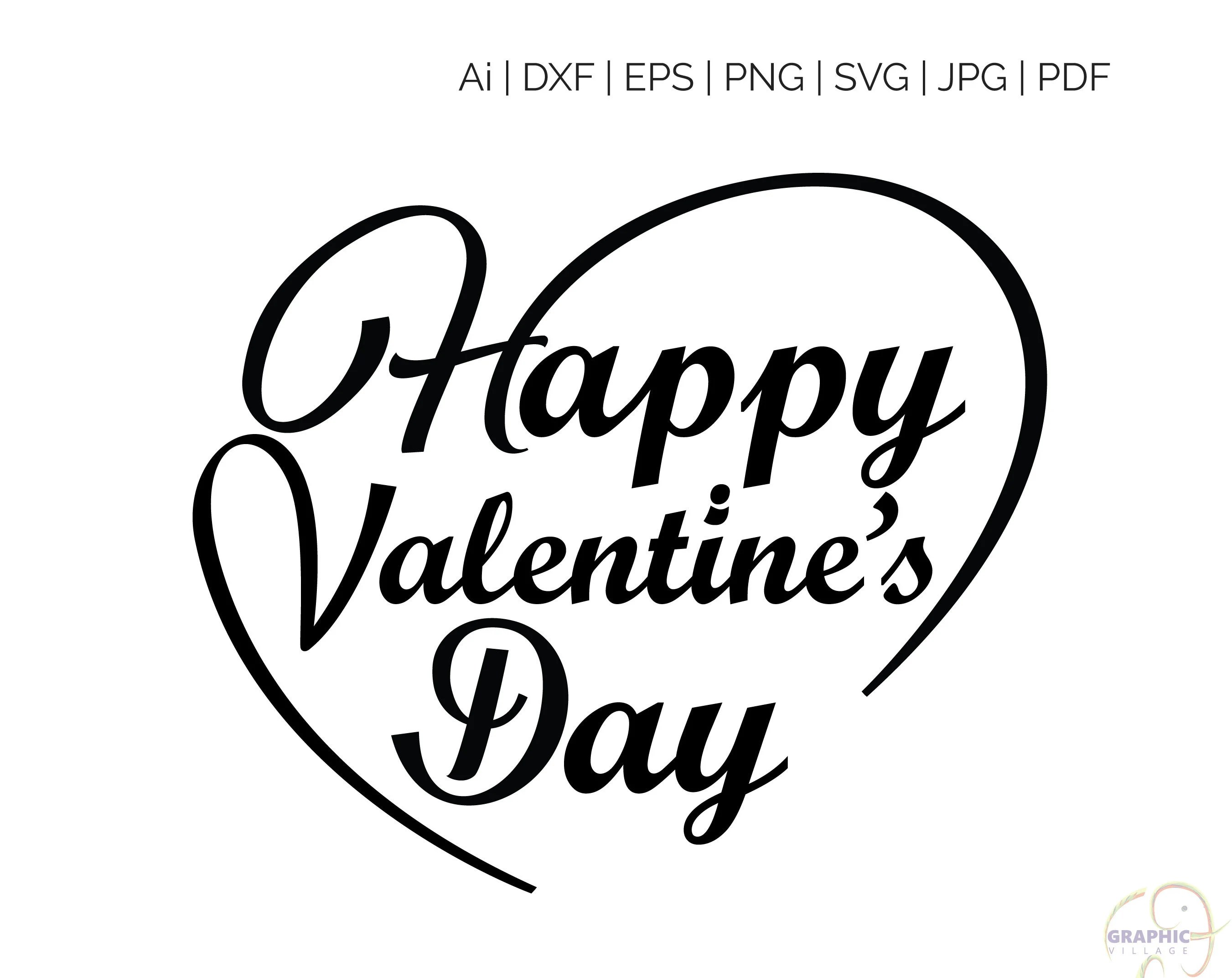 Happy Valentine S Day Svg Clipart Digital Silhouette And