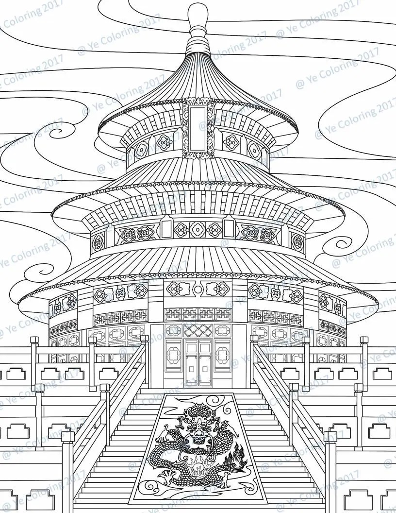 temple of heaven coloring page printable file  etsy