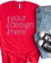 Bella Canvas 3001 Shirt Mockup Red T Shirt Mock Up Tshirt Etsy