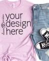 Bella Canvas 3001 T Shirt Mock Up Heather Prism Lilac Tshirt Etsy