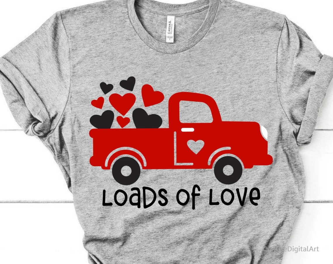 Download Loads of Love Svg Valentines Red Truck Svg Kids Valentines ...