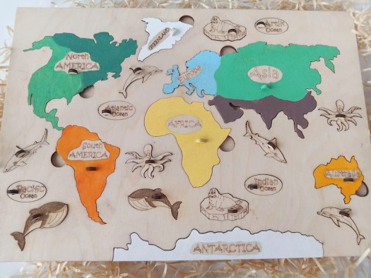 Toddler Puzzle  World map Baby Board game  Educational Puzzle image 4