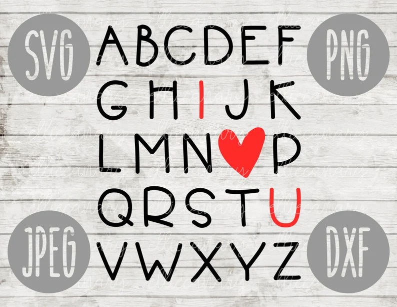 Download Valentine SVG ABC I Love You svg png jpeg dxf / Commercial ...