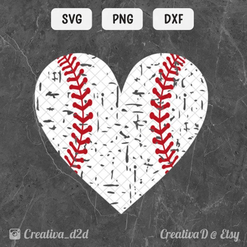 Download Love Baseball Heart SVG DXF PNG Red Stitches Grunge ...