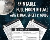 Printable Full Moon Ritual • Law of Attraction Moon Planner • Universe • Lunar Cycle • Manifestation Planner