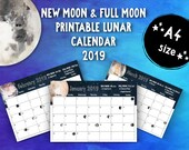 Printable New Moon and Full Moon 2019 Lunar Calendar (A4) • Moon Phases • Moon Cycle