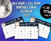 Printable New Moon and Full Moon 2020 Lunar Calendar (US Letter) • Moon Phases • Moon Cycle • New Moon • Full Moon