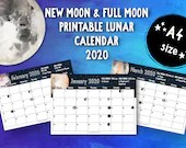 Printable New Moon and Full Moon 2020 Lunar Calendar (A4) • Moon Phases • Moon Cycle • New Moon • Full Moon