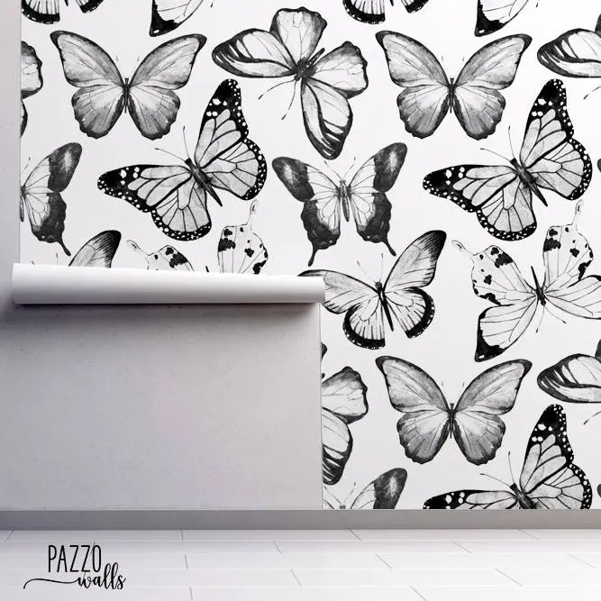 Butterfly wallpaper   Etsy Watercolor Butterfly Wallpaper   FREE SHIPPING   Wall Mural   Traditional  or removable wallpaper   Black and White Butterfly Pattern  53