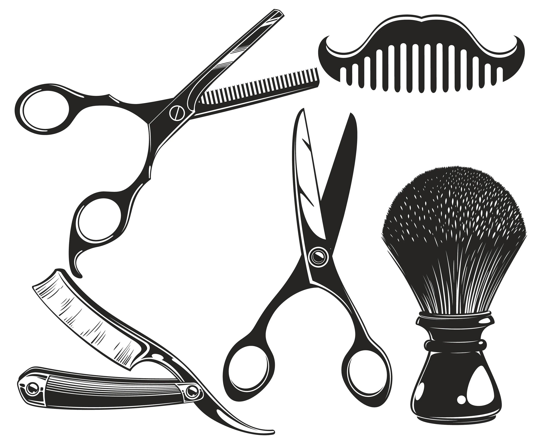 Barber Scissors Razor Shaving Brush