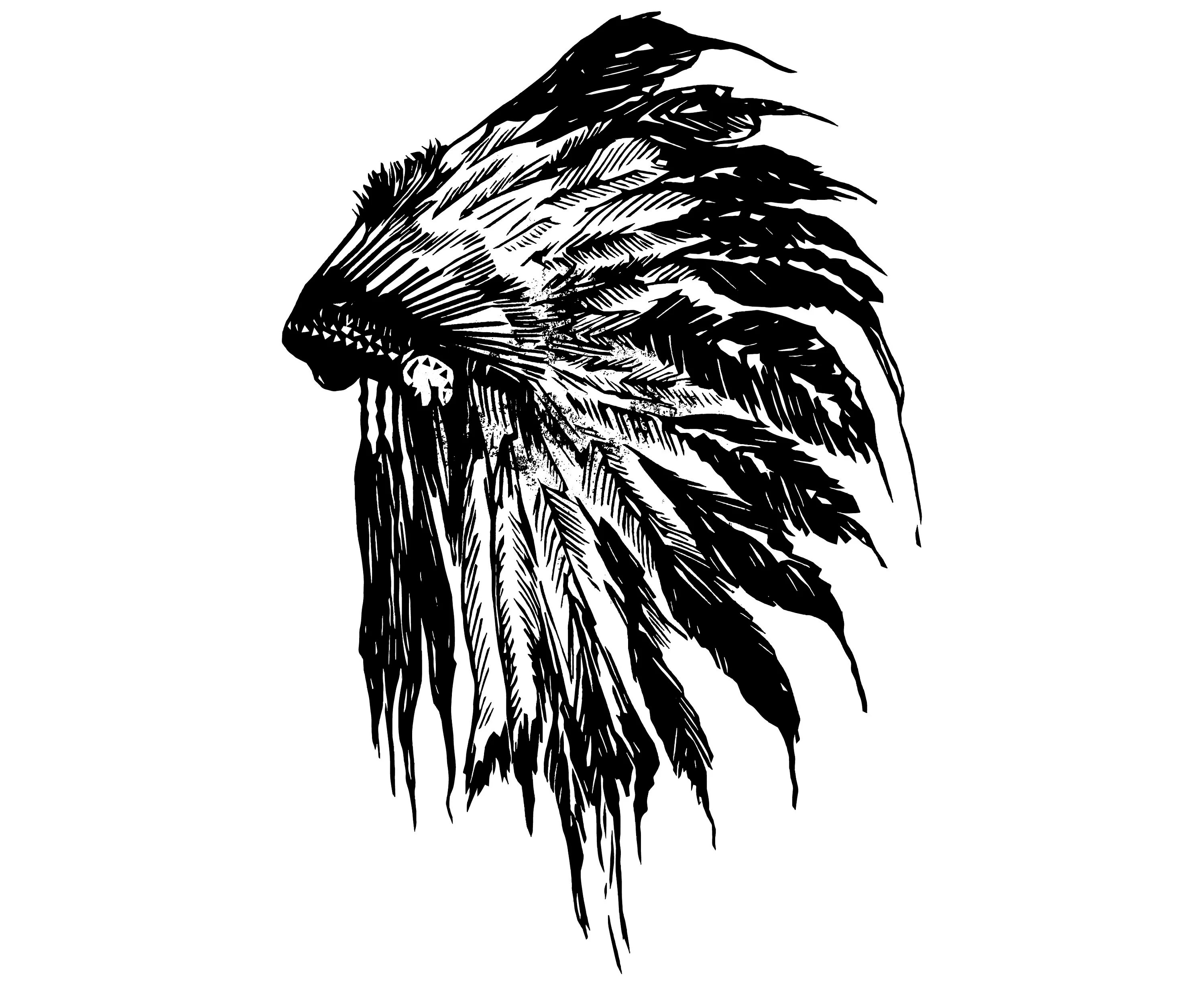 Indian Headdress Feather Native Chief Grunge Hand Drawn