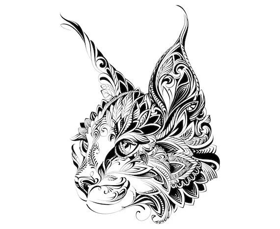 Cat Head Mandala Zentangle Animal Etsy