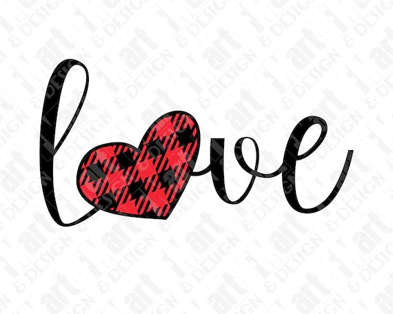 Download SVG DXF PNG Love Script Buffalo Plaid Heart | Etsy