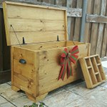 Golden Oak Hope Chest Rustic Storage Trunk Farmhouse Toy Box Yellow Storage Chest
