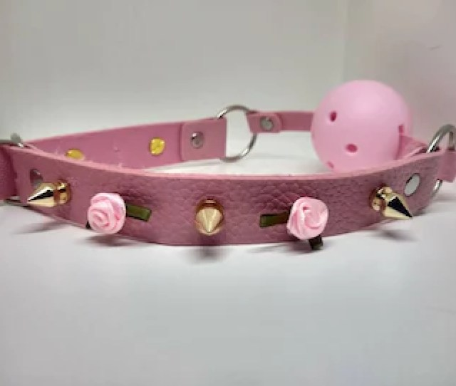 Ddlg Pink And Gold Studded Rose Ball Gag Open Ball Gag Pink Roses Gold Stud Spikes Sissy Girly
