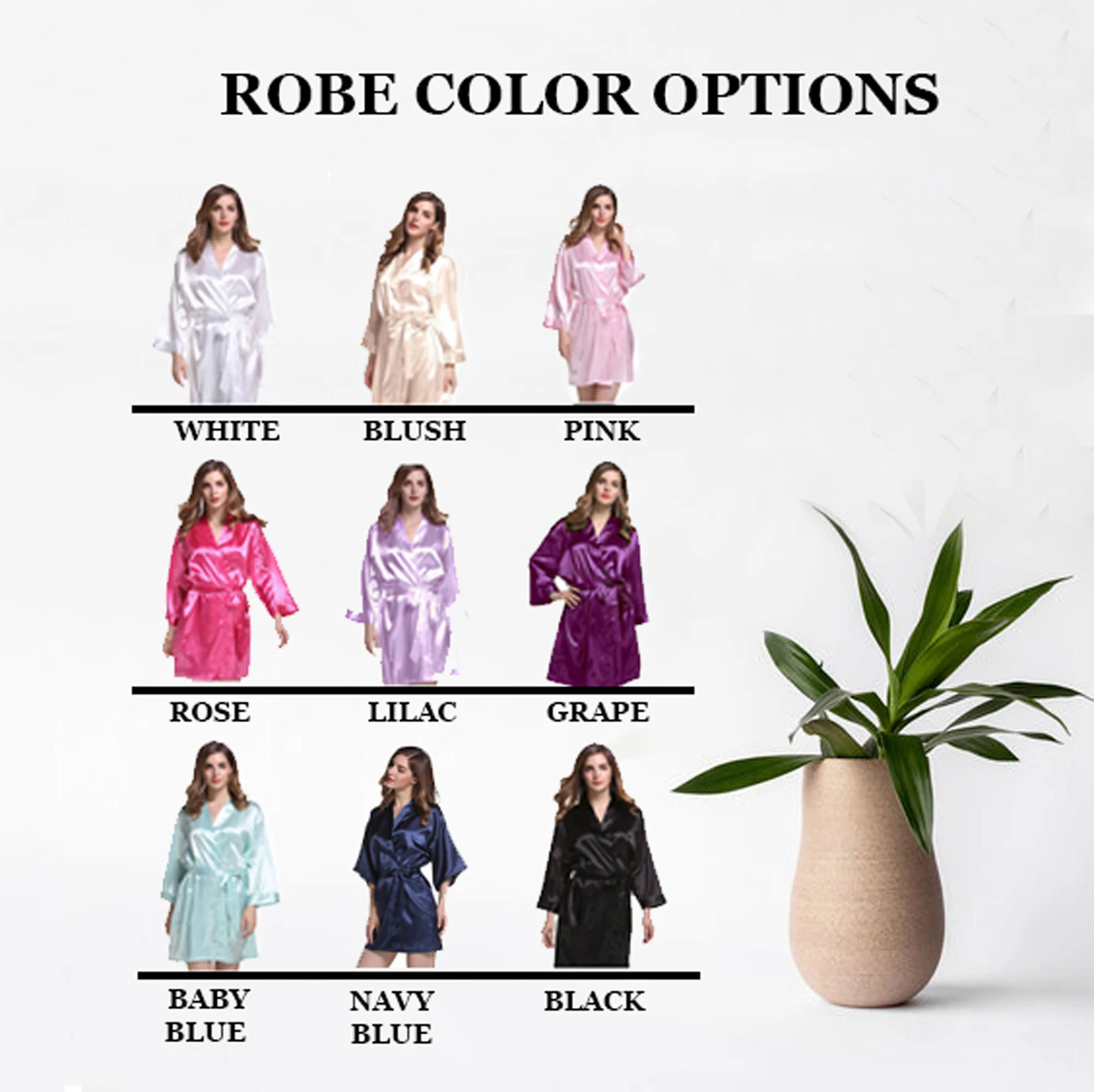 Set of Silky Bridal Party Robes for Getting Ready on Wedding image 4