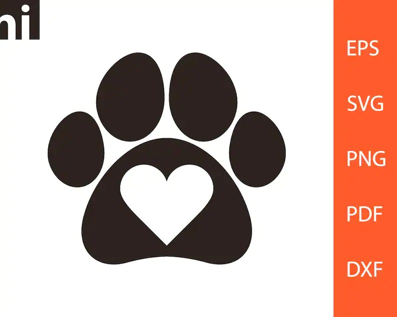 Download Paw Heart svg I Love Pets Paw Heart Vector Pet svg Dog | Etsy
