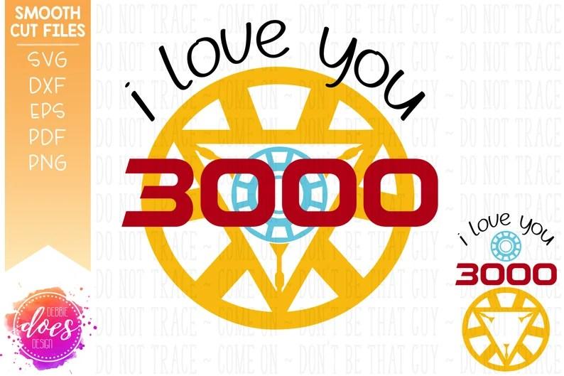 Download I Love You 3000 Avengers End Game SVG Digital Cut File   Etsy