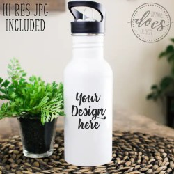 White Sublimation Water Bottle Mockup Water Bottle With Etsy