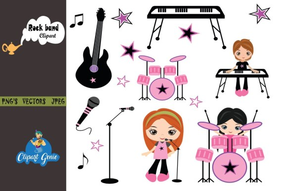 Girls Rock Rock band clipart Rockstar Clipart Rock Star Etsy