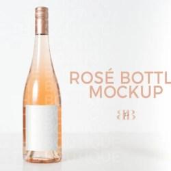 Rose Bottle Mock Up Rose Stock Photo Wine Bottle Product Etsy