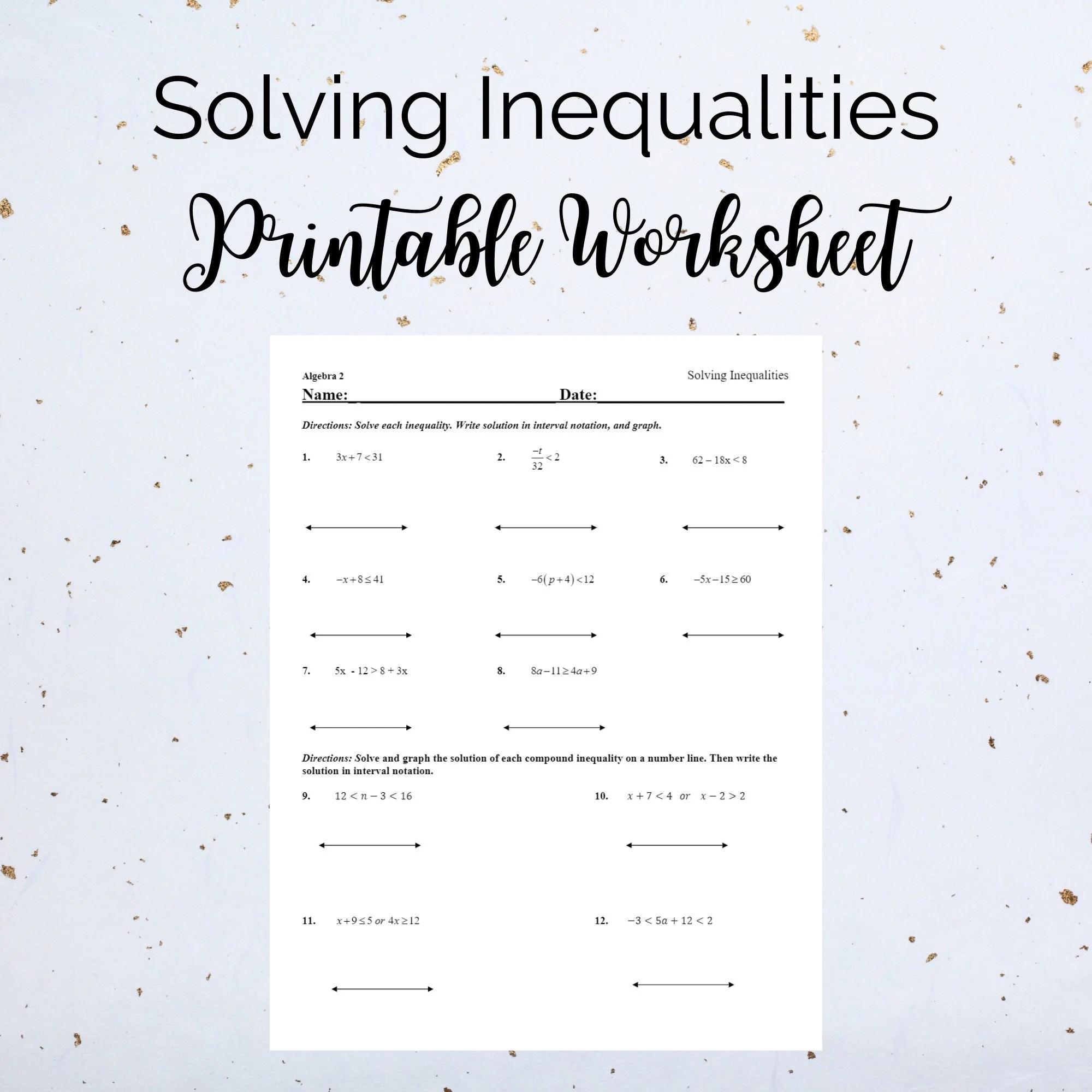 Solving Inequalities Printable Exercise Worksheet Grade 7