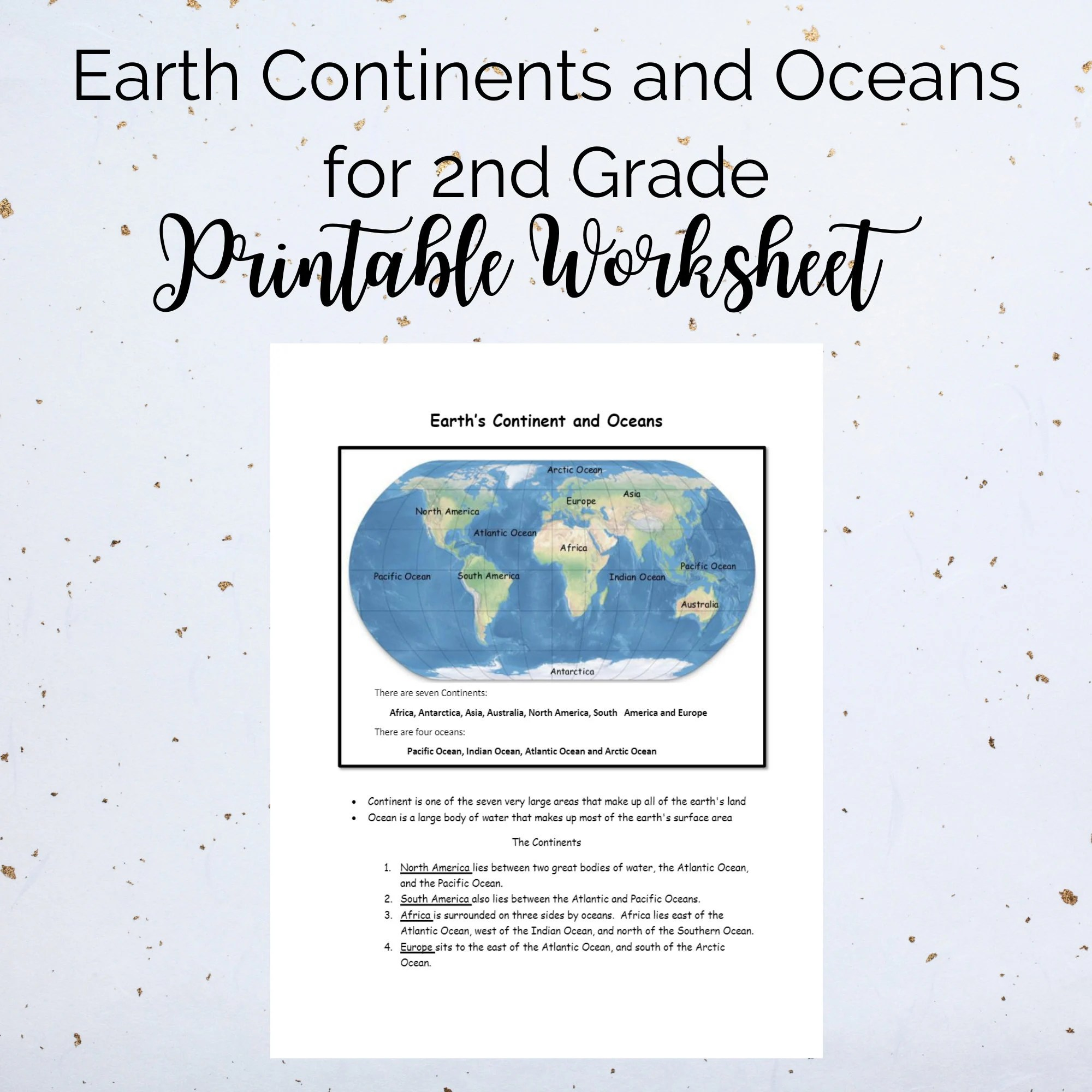 Earth Continents And Oceans For 2nd Grade Printable
