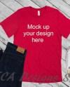 Womens Styled Mockup Red Shirt Flat Lay Womens Shirt Mock Etsy